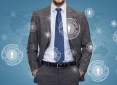 Close up of businessman over blue background — Stock Photo
