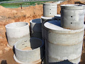 Concrete rings for water or draw-wells — Stock Photo