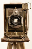 Front view of old wooden camera — Stock Photo