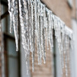Icicles which are hanging down from a roof — Stock Photo #21423697