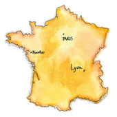 France map watercolor painted — Stock Photo