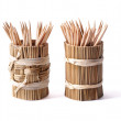 Round bamboo box with toothpicks isolated on white background, - Stock Photo
