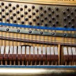 Close up of old inside element piano - Stock Photo