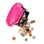 Pink leather purse and several different coins — Stock Photo