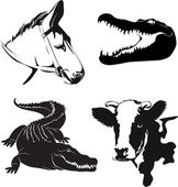 Vector illustration of various farm animals silhouettes — Stock Vector