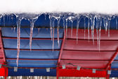Icicles which are hanging down — Stock Photo
