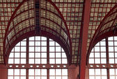 Beautiful windows of Antwerp central station — Stock Photo