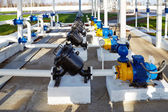 Pipes, pump and filter at oil storage — Stock Photo