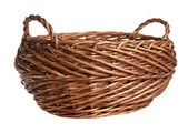 Empty wicker basket. Isolated over white — Stock Photo