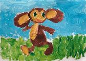 Child's drawing. Cheburashka — Stock Photo