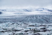 View of Vatnajokull from the grasslands near Jokulsarlon — Stock Photo