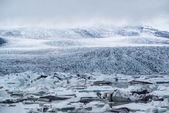 View of Vatnajokull from the grasslands near Jokulsarlon — Stock Photo