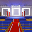 Boxing gym with blue ring and red corners — Stock Photo