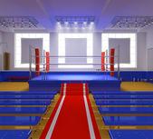 Boxu tělocvična s modrým kroužkem a červené rohy — Stock fotografie
