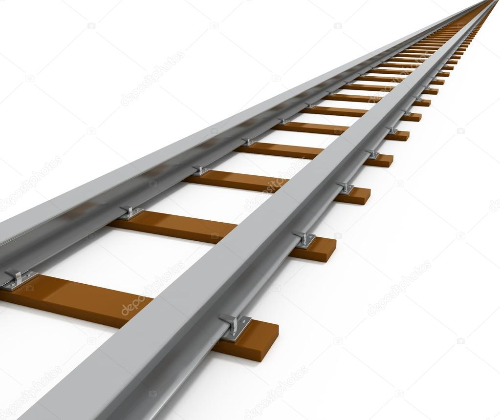 Railway Isolated on white - 3d illustration — Stock Photo #13656298