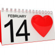 Valentines Day Calendar Page with Heart — Stock Photo #19547377
