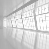 Habitación blanca con ventanas grandes — Foto de Stock