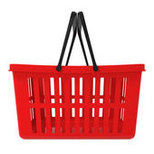 Red Shopping Basket isolated on white — Stock Photo