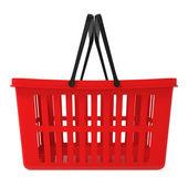 Red Shopping Basket isolated on white — Stock Photo