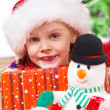 Cheerful child in Santa hat — Stock Photo