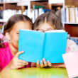 Two girls reading a book - Stock Photo
