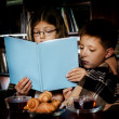 Stockfoto: Reading book at night