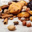 Nuts, species and cookies — Stock Photo