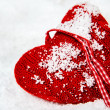Red woolen heart — Stockfoto