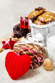 Christmas cookies and decoration — Stock Photo