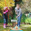 Raking autumn leaves — Stock Photo