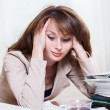 Exhausted  businesswoman — Stock Photo