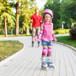 Stock Photo: Preschool beginner in roller skates