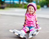 Roller skater in protective equipment — Stock Photo