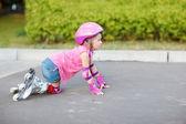 Beginner in roller skates — Stock Photo