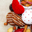 Cookies and Christmas decoration — Stock Photo