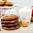 Cookies, nuts, milk — Stock Photo