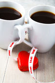 Valentine coffee cups with heart — Stockfoto