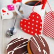 Cupcakes and coffee made with love — Stock Photo