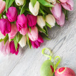 Stock Photo: Spring tulips and Easter eggs
