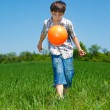 Stock Photo: Boy playing with a ball