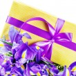 Birthday present and flowers — Stockfoto