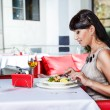 Female at the restaurant — Stock Photo