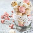 Easter eggs and spring cherry tree branch — Stock Photo