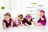 Girls group in festive dresses — Stock Photo