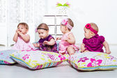 Four little girls group — Stok fotoğraf
