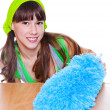 Girl with a duster  — Stock Photo
