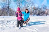 Pulling sledges — Stock Photo