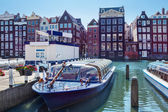 Amsterdam houses and boats — Stock Photo