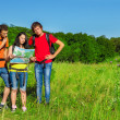 Stock Photo: Teenage friends backpacking