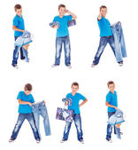 Boy with denim clothing — Stock Photo